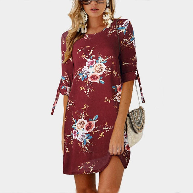 2019 Women Summer Dress Boho Style Floral Print Chiffon Beach Dress Tunic Sundress Loose Mini Party Dress Vestidos Plus Size 5XL-hipnfly-Wine Red-S-hipnfly