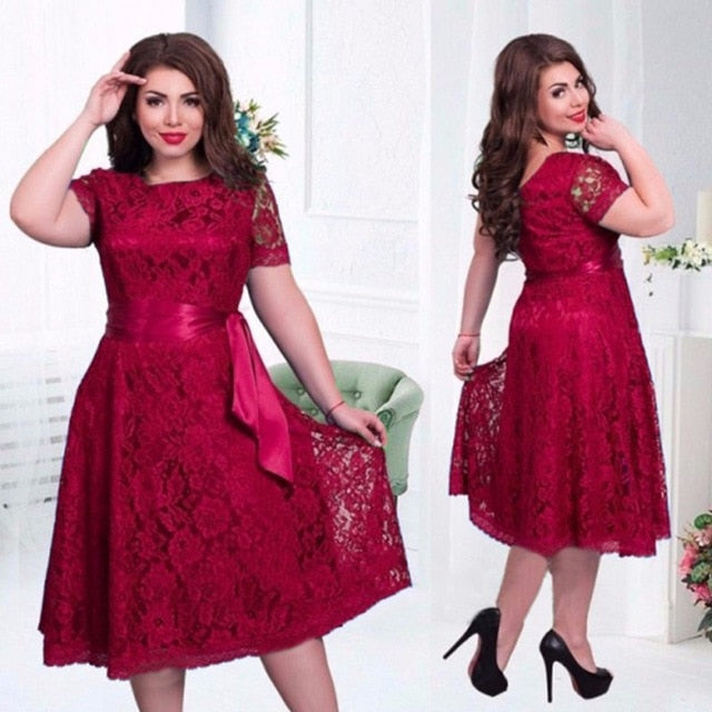 Summer Women Dress Plus Size 6XL Lace Elegant Lady Dress Short Sleeve Casual Fashion Lace Up Vestidos Large Size Party Dress-hipnfly-Red-XXL-hipnfly