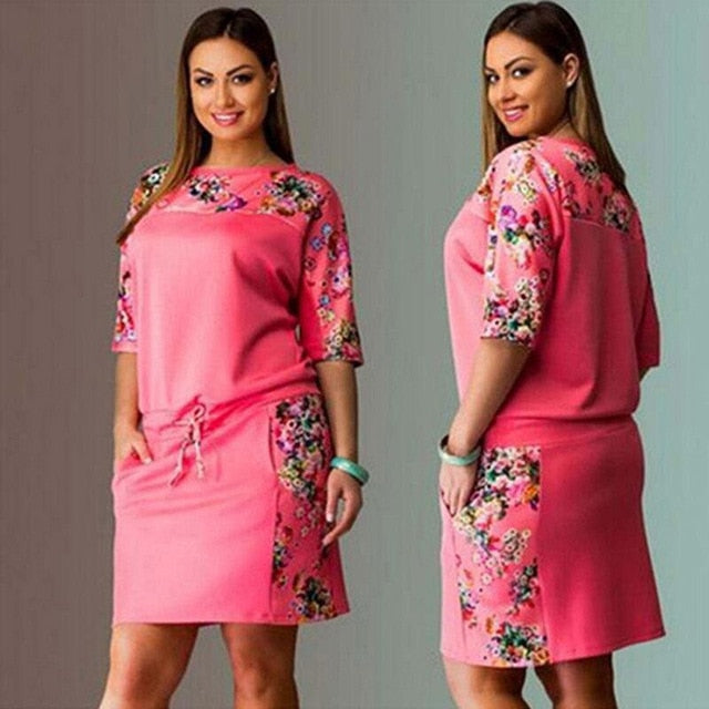 6XL Large Size New Summer Dress Women Vestidos Plus Size Casual Straight Floral Print Dress Big Size Ladies Party Dresses-hipnfly-Pink-L-hipnfly