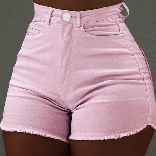 High Waist Denim Shorts sexy tassel Short Jeans Women 2019 Summer Ladies Slim Hot Shorts black short pants Casual Jeans hotpants-hipnfly-Pink-S-hipnfly