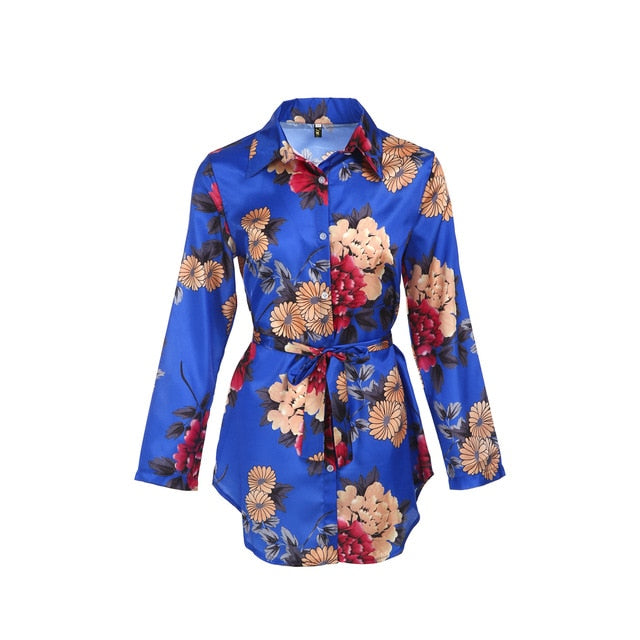 Women Floral Satin Silk Long Sleeve Ladies T Shirt Tops Loose Short Mini Dress Summer Beach Dress-hipnfly-Blue-S-hipnfly