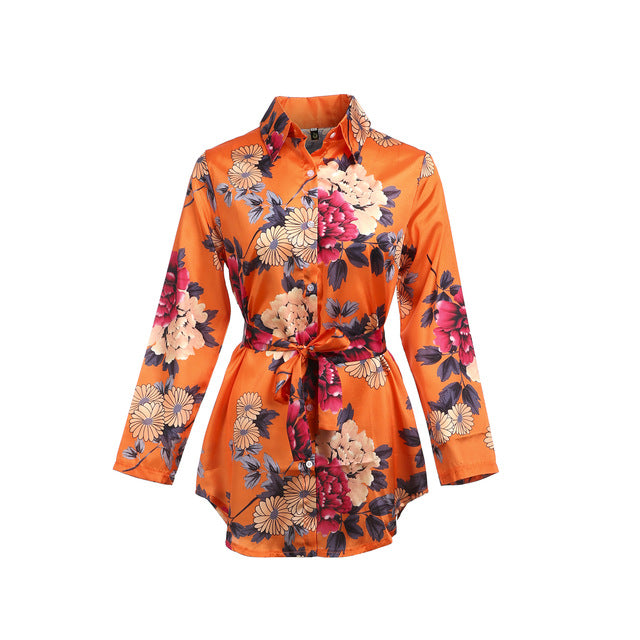 Women Floral Satin Silk Long Sleeve Ladies T Shirt Tops Loose Short Mini Dress Summer Beach Dress-hipnfly-Orange-S-hipnfly