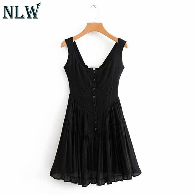 NLW Vintage Pleated Short Dress Women 2019 Summer Casual Black Sleeveless A-Line Dresses Sexy Slim Beach Party Dress Vestido-hipnfly-Black-S-hipnfly
