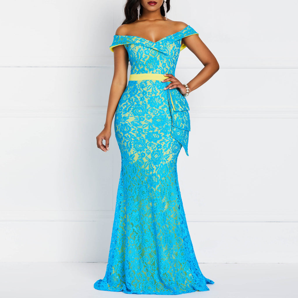 Women Maxi Dresses Elegant Blue Plus Size Mermaid High Waist Off Shoulder Ruffles Female Fashion Retro Lace Party Long Dress-hipnfly-hipnfly