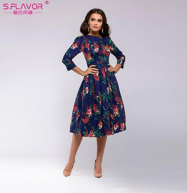 S.FLAVOR Women Elegant A-line Dress 2019 Vintage printing party vestidos Three Quarter Sleeve women Slim Autumn Winter Dress-hipnfly-hipnfly