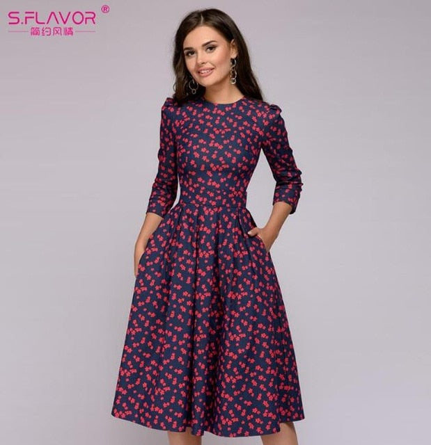 S.FLAVOR Women Elegant A-line Dress 2019 Vintage printing party vestidos Three Quarter Sleeve women Slim Autumn Winter Dress-hipnfly-MNL0360RD-L-hipnfly