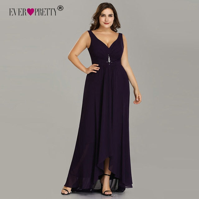 Plus Size Evening Dresses Long 2019 Elegant Burgundy A-line Sleeveless Crystal High Low Ever Pretty Special Occasion Dresses-hipnfly-Dark Purple-4-hipnfly