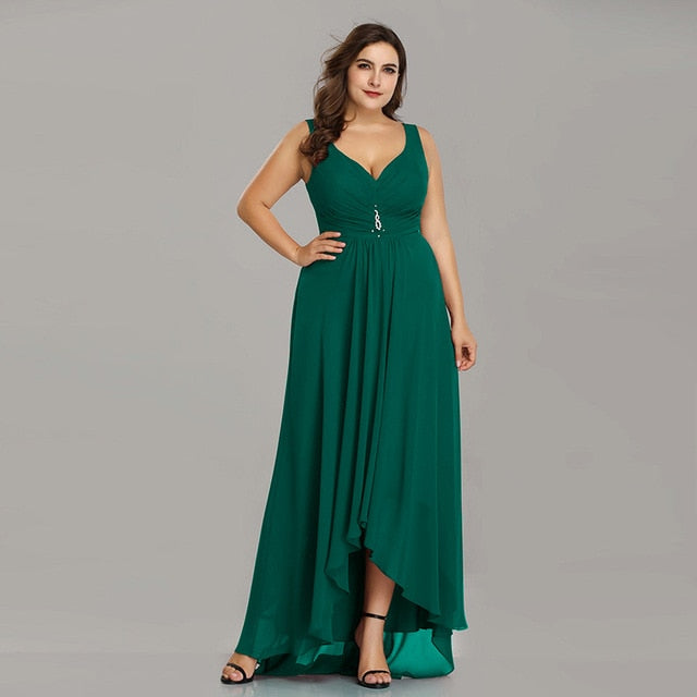 Plus Size Evening Dresses Long 2019 Elegant Burgundy A-line Sleeveless Crystal High Low Ever Pretty Special Occasion Dresses-hipnfly-Dark Green-4-hipnfly