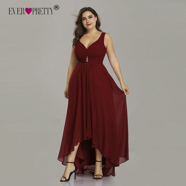 Plus Size Evening Dresses Long 2019 Elegant Burgundy A-line Sleeveless Crystal High Low Ever Pretty Special Occasion Dresses-hipnfly-Burgundy-4-hipnfly