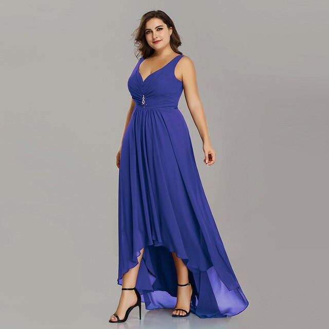 Plus Size Evening Dresses Long 2019 Elegant Burgundy A-line Sleeveless Crystal High Low Ever Pretty Special Occasion Dresses-hipnfly-Sapphire Blue-4-hipnfly