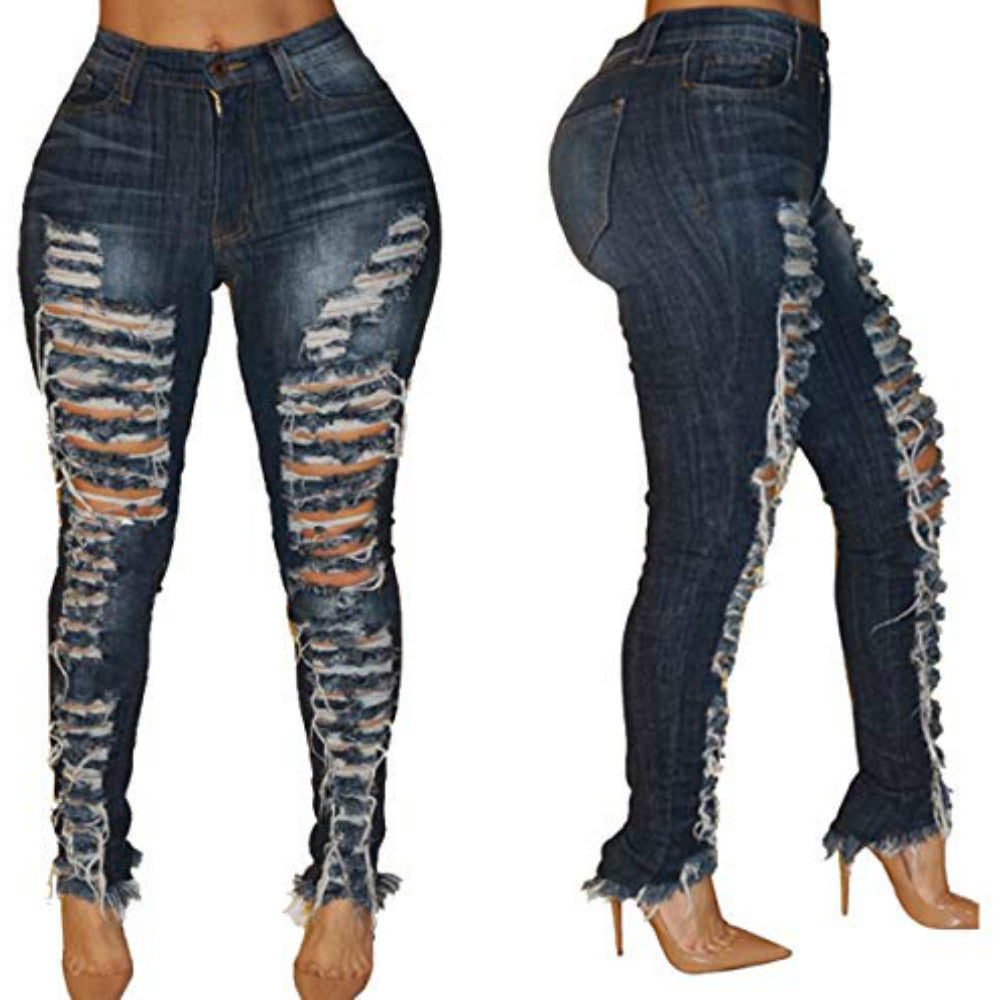 Women Fashion Low Waist Ripped Hole Skinny Jeans Ripped Jeans for Women Rock Jean Full Length Dark Blue Trousers S-XXL-hipnfly-hipnfly