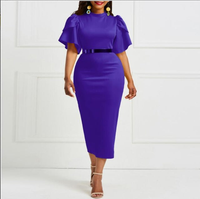 2019 women office dress ladies yellow dress working girl ruffle zipper plus size evening summer bodycon midi dresses sheath slim-hipnfly-purple-XL-hipnfly