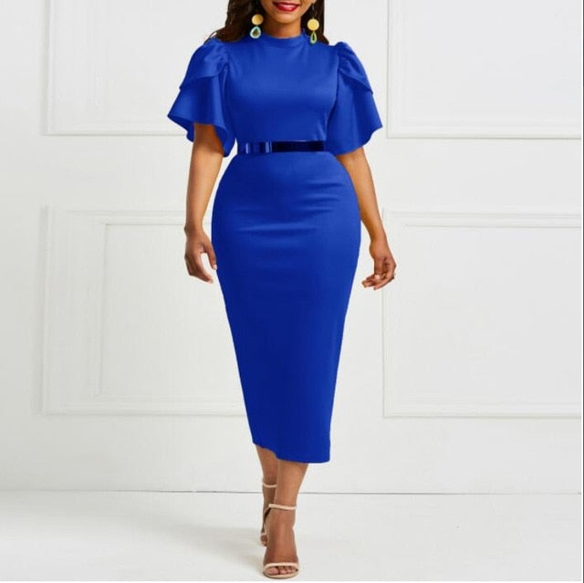 2019 women office dress ladies yellow dress working girl ruffle zipper plus size evening summer bodycon midi dresses sheath slim-hipnfly-blue-XL-hipnfly