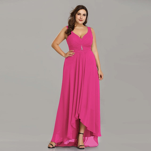 Plus Size Evening Dresses Long 2019 Elegant Burgundy A-line Sleeveless Crystal High Low Ever Pretty Special Occasion Dresses-hipnfly-Hot Pink-4-hipnfly
