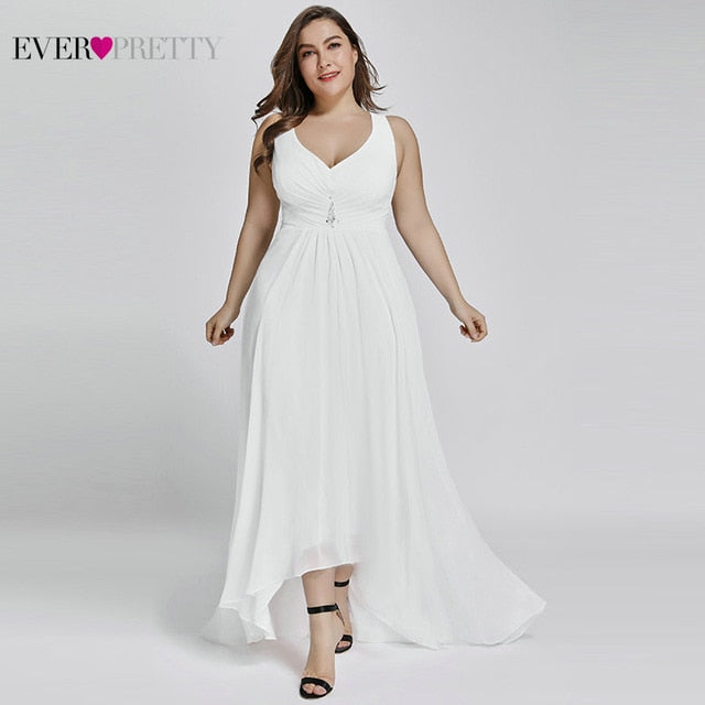 Plus Size Evening Dresses Long 2019 Elegant Burgundy A-line Sleeveless Crystal High Low Ever Pretty Special Occasion Dresses-hipnfly-White-4-hipnfly