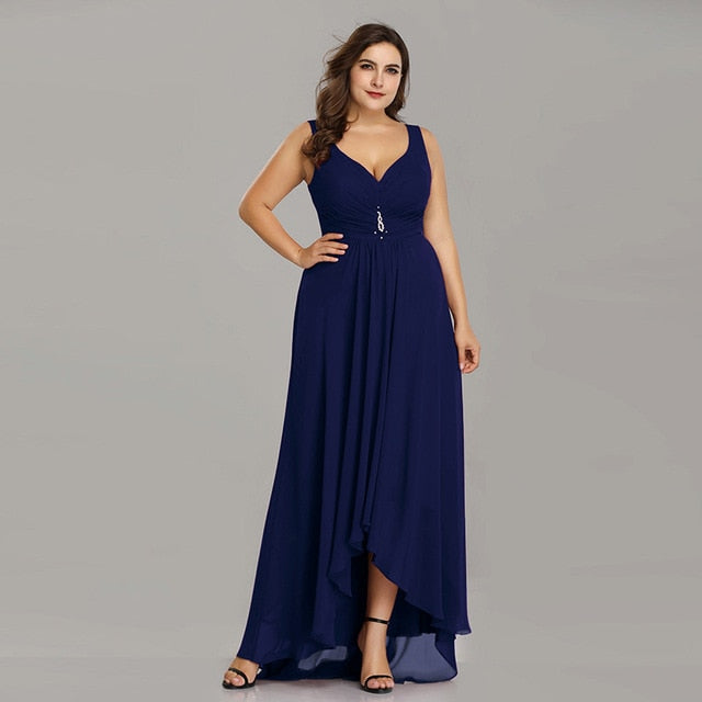 Plus Size Evening Dresses Long 2019 Elegant Burgundy A-line Sleeveless Crystal High Low Ever Pretty Special Occasion Dresses-hipnfly-Navy Blue-4-hipnfly