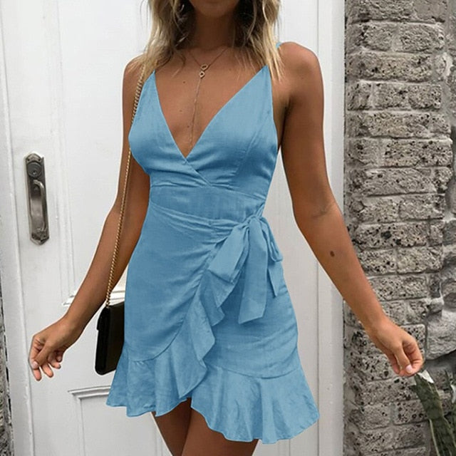 Summer Bow Short Mini Dress Sleeveless Sexy Backless V-Neck Ruffles Casual Dress Women Lady Beach Party Dress Vestidos de festa-hipnfly-Blue-S-China-hipnfly