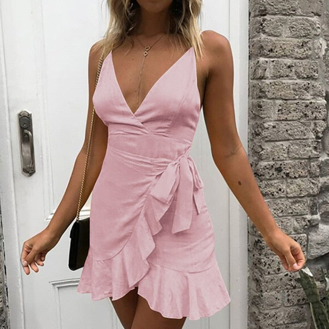 Summer Bow Short Mini Dress Sleeveless Sexy Backless V-Neck Ruffles Casual Dress Women Lady Beach Party Dress Vestidos de festa