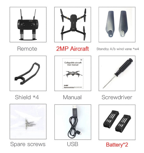 Eachine E58 WIFI FPV With Wide Angle HD Camera High Hold Mode Foldable Arm RC Quadcopter Drone RTF VS VISUO XS809HW JJRC H37-hipnfly-2MP x 2 Battery-China-hipnfly