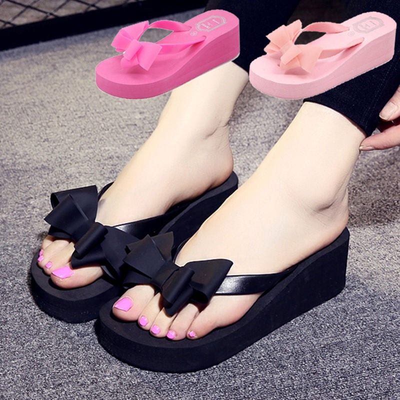 2018 Summer Women Fashion Flip Flop Shoes bowknot Thick Bottom Non-slip Sandals Slipper Platform Shoes chaussure femme 833W