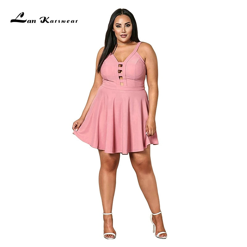 Party Night Short Mini Dress Plus Size Women's Summer Beach Bandage Sundress Office Ladies Clothes Pink Black Elegant Sexy-hipnfly-hipnfly