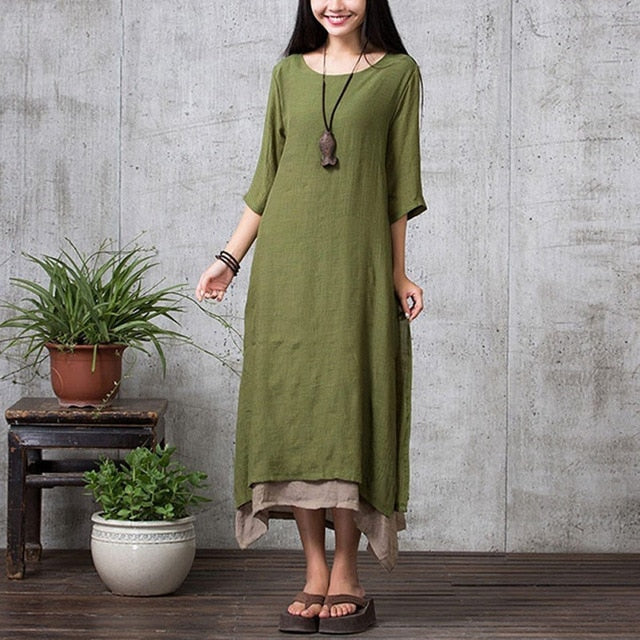 EaseHut Summer Vintage Plus Size Maxi Dress For Women 2019 Split Irregular Hem Casual Loose Long Dresses 3/4 Sleeve Robe Vestido