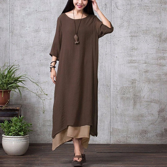 EaseHut Summer Vintage Plus Size Maxi Dress For Women 2019 Split Irregular Hem Casual Loose Long Dresses 3/4 Sleeve Robe Vestido-hipnfly-Khaki-XXXL-hipnfly