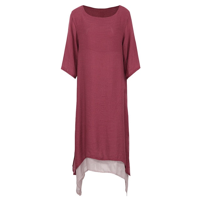 EaseHut Summer Vintage Plus Size Maxi Dress For Women 2019 Split Irregular Hem Casual Loose Long Dresses 3/4 Sleeve Robe Vestido-hipnfly-Burgundy-XXL-hipnfly
