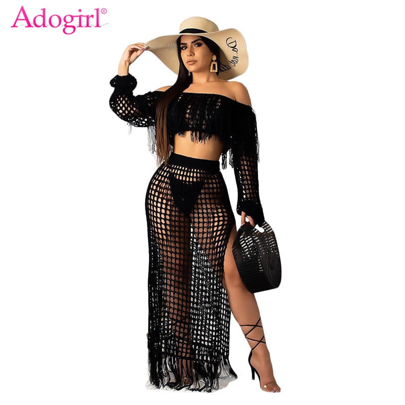 Adogirl Hollow Out Fishnet Tassel Knitted Two piece Set Summer Beach Dress Off Shoulder Lantern Sleeve Crop Top + Maxi Skirt-hipnfly-hipnfly