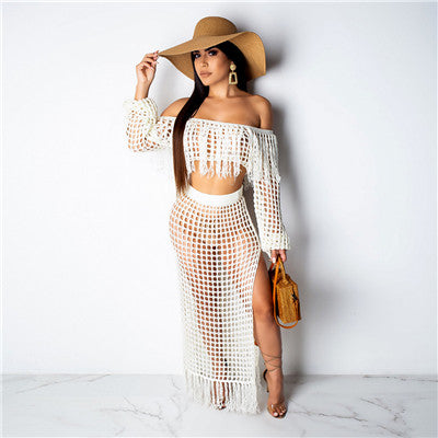 Adogirl Hollow Out Fishnet Tassel Knitted Two piece Set Summer Beach Dress Off Shoulder Lantern Sleeve Crop Top + Maxi Skirt-hipnfly-white two piece set-S-China-hipnfly