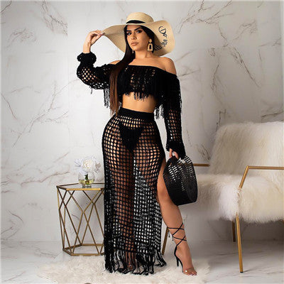 Adogirl Hollow Out Fishnet Tassel Knitted Two piece Set Summer Beach Dress Off Shoulder Lantern Sleeve Crop Top + Maxi Skirt-hipnfly-black two piece set-S-China-hipnfly