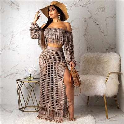 Adogirl Hollow Out Fishnet Tassel Knitted Two piece Set Summer Beach Dress Off Shoulder Lantern Sleeve Crop Top + Maxi Skirt-hipnfly-coffee two piece set-S-China-hipnfly