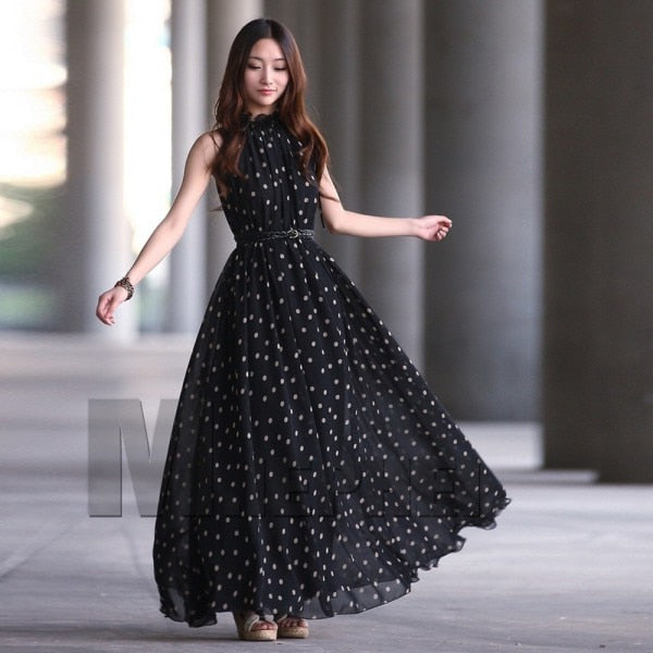 EFINNY Casual Slim Fashion Dress Women Elegant Sweet Dot Printed Long Dress Summer Style Vestidos-hipnfly-hipnfly