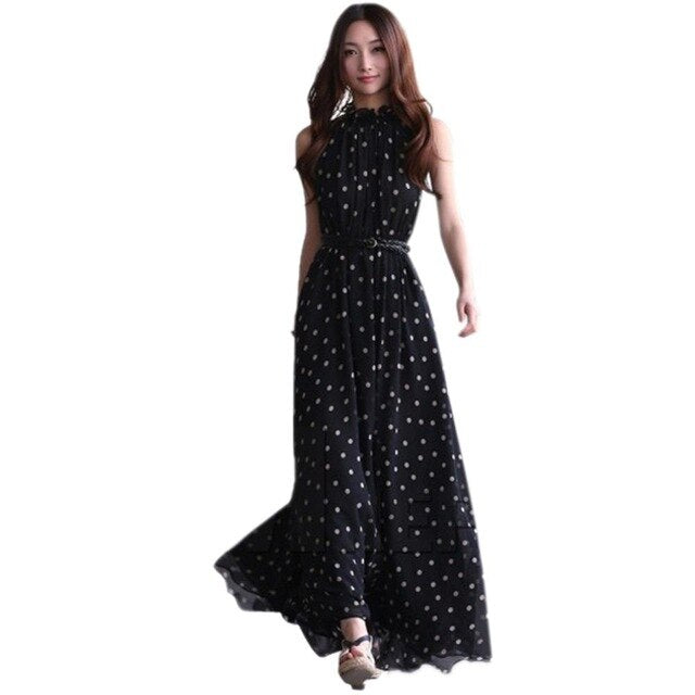 EFINNY Casual Slim Fashion Dress Women Elegant Sweet Dot Printed Long Dress Summer Style Vestidos-hipnfly-picture show-One Size-hipnfly