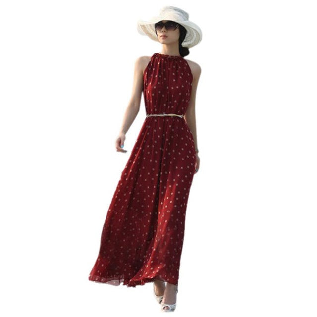 EFINNY Casual Slim Fashion Dress Women Elegant Sweet Dot Printed Long Dress Summer Style Vestidos-hipnfly-picture show 1-One Size-hipnfly