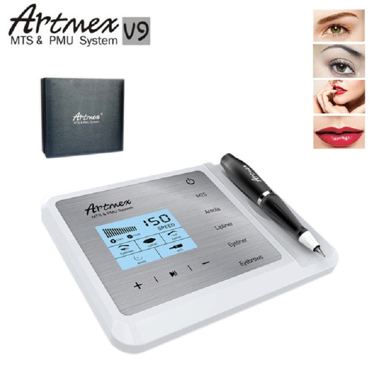 Newest Permanent Makeup Tattoo Machine Artmex V9 Eye Brow Lip Rotary Pen MTS PMU System With V9 Tattoo Needle
