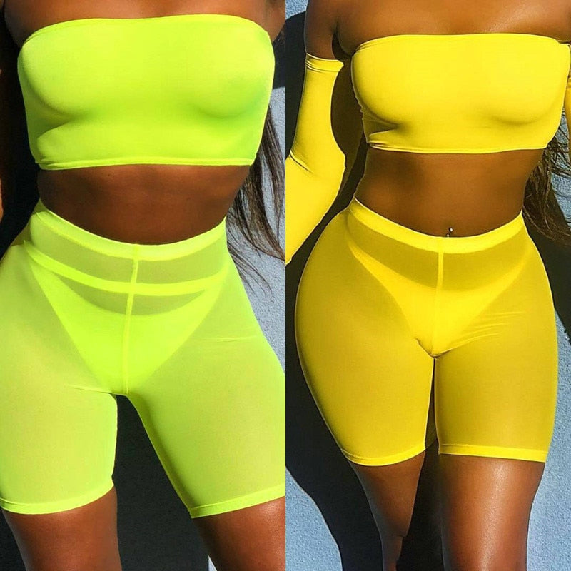 OMSJ 2019 Summer Fashion Yellow Mesh Transaparent Sexy Women Casual Shorts Ladies High Waist Shorts Summer Shorts Sexy Shorts-hipnfly-hipnfly