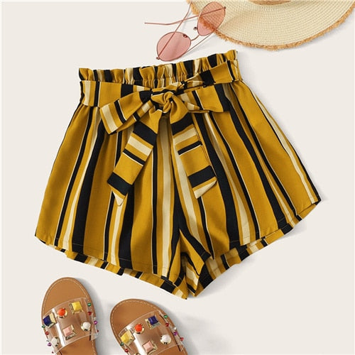 SHEIN Paperbag Waist Self Belted Striped Shorts 2019 Summer Elastic Waist Shorts Boho Ginger High Waist Culottes Shorts-hipnfly-Ginger-XS-hipnfly