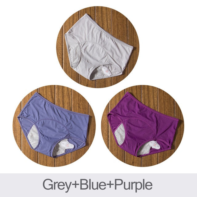 DULASI 3pcs Leak Proof Menstrual Panties Physiological Pants Women Underwear Period Cotton Waterproof Briefs Dropshipping-hipnfly-Gray Blue Purple-XXXL-hipnfly