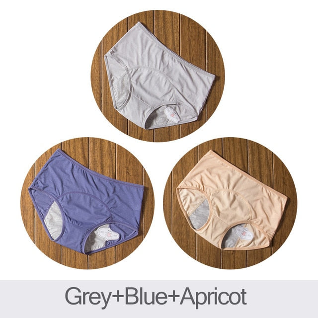 DULASI 3pcs Leak Proof Menstrual Panties Physiological Pants Women Underwear Period Cotton Waterproof Briefs Dropshipping-hipnfly-Grey Blue Apricot-XXL-hipnfly
