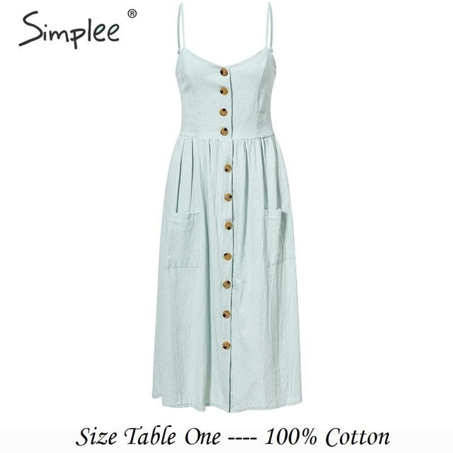 Simplee Elegant button women dress Pocket polka dots yellow cotton midi dress Summer casual female plus size lady beach vestidos-hipnfly-Light-Blue-S-hipnfly