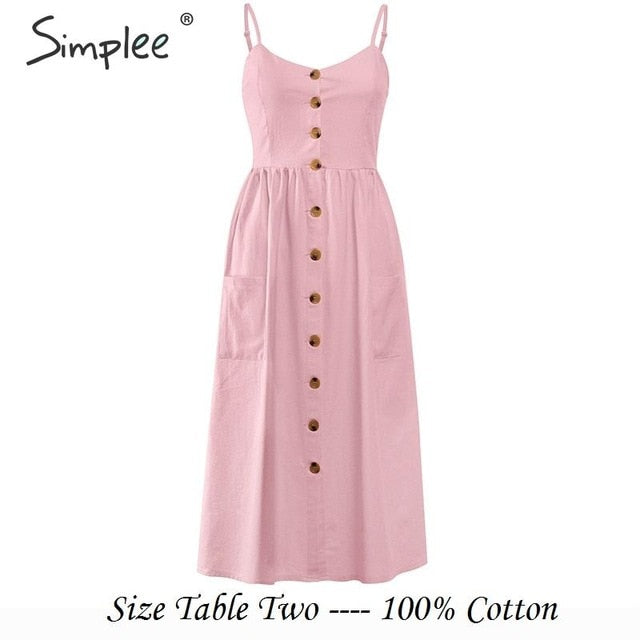 Simplee Elegant button women dress Pocket polka dots yellow cotton midi dress Summer casual female plus size lady beach vestidos-hipnfly-Light-Pink-S-hipnfly