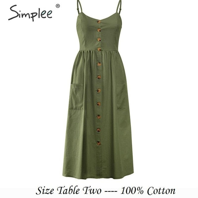 Simplee Elegant button women dress Pocket polka dots yellow cotton midi dress Summer casual female plus size lady beach vestidos-hipnfly-Army-Green-S-hipnfly