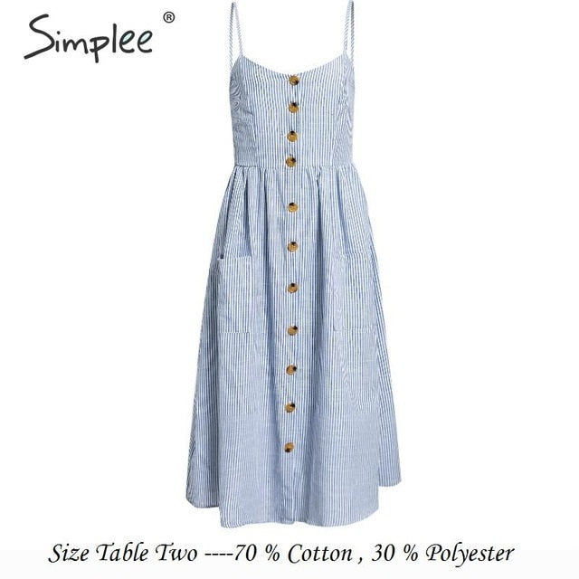 Simplee Elegant button women dress Pocket polka dots yellow cotton midi dress Summer casual female plus size lady beach vestidos-hipnfly-Blue-Striped-S-hipnfly