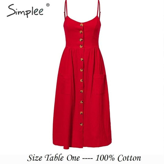 Simplee Elegant button women dress Pocket polka dots yellow cotton midi dress Summer casual female plus size lady beach vestidos-hipnfly-Red-S-hipnfly