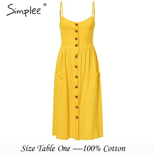 Simplee Elegant button women dress Pocket polka dots yellow cotton midi dress Summer casual female plus size lady beach vestidos-hipnfly-Yellow-S-hipnfly