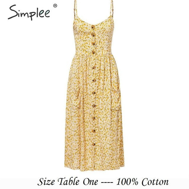 Simplee Elegant button women dress Pocket polka dots yellow cotton midi dress Summer casual female plus size lady beach vestidos-hipnfly-Yellow-Print-S-hipnfly