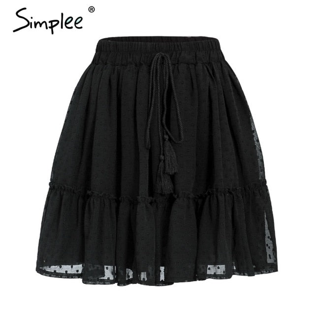Simplee Casual polka dot mini women skirt High waist A line korean tassel pink summer skirt Sexy ruffle beach female skirts 2019-hipnfly-Black-S-hipnfly