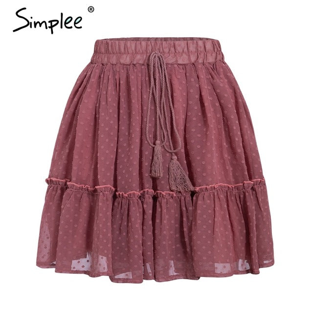 Simplee Casual polka dot mini women skirt High waist A line korean tassel pink summer skirt Sexy ruffle beach female skirts 2019-hipnfly-Brick Red-S-hipnfly