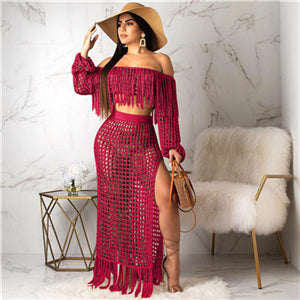 Adogirl Hollow Out Fishnet Tassel Knitted Two piece Set Summer Beach Dress Off Shoulder Lantern Sleeve Crop Top + Maxi Skirt-hipnfly-burgundy set-L-China-hipnfly
